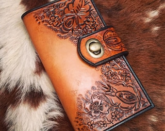 Handmade Floral Tooled Leather Wallet-Clutch