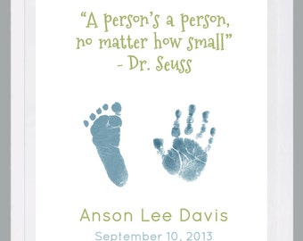 Hand and Footprint Art by Forever Prints. New Baby, Baby loss. Dr. Suess nursery. Choose colors. Baby footprint art, Baby footprints