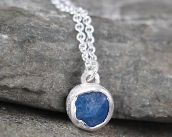 Neon Blue Apatite Pendant - Apatite Sterling Silver Necklace - Rustic Uncut Blue Gemstone - Layering Necklace