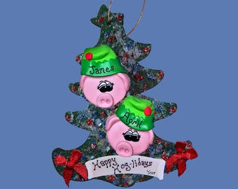 Pig ornament  Elf (2) Personalized Family