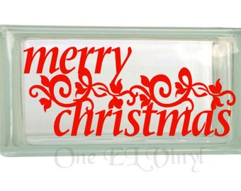 Merry Christmas - Christmas Decor Vinyl Decal for a DIY Rectangular Glass Block, Frames, and more...Block Not Included