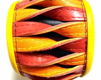 Leather Bracelet -  twisted Fire Size M