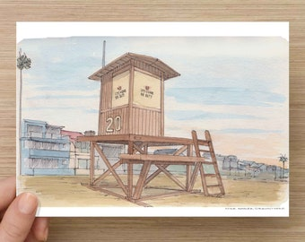 Ink and Watercolor Drawing of Lifeguard Stand on Newport Beach in Orange County, California - Baywatch, Sketch, Art, Pen and Ink, 5x7, 8x10