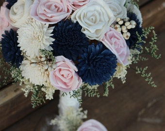 Sola Bouquet, wedding bouquet, bridal bouquet, bridesmaid bouquet, blue pink bouquet, sola flowers