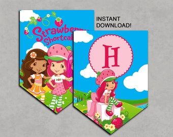 Strawberry Shortcake Inspired Banner Printable Birthday DIY Decorations INSTANT DOWNLOAD Pdf Bunting Flags No waiting Decorations