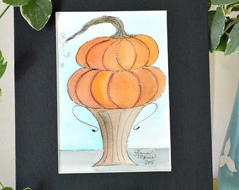 Stacked Pumpkins Original Watercolor No. 3 by Lana Manis, Autumn, Fall, Primitive, Folk Art, Ready to Frame