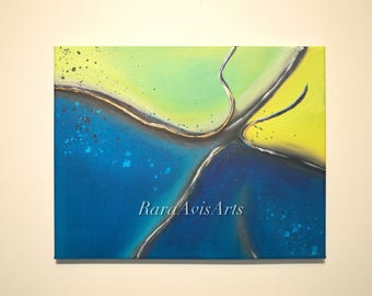 "Ocean Blue, 14"" x 11"" Abstract Acrylic Painting, Blues Green Yellow with Gold Highlights"