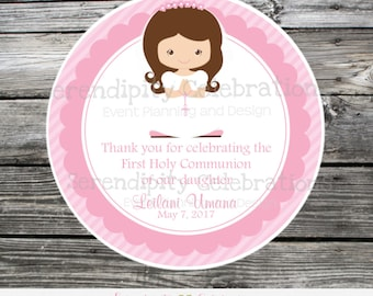 First Communion, Baptism, Confirmation, Religious, Set of 12 Personalized Favor Tags, Stickers, Thank You Tag, Pink, Cross, Holy Communion
