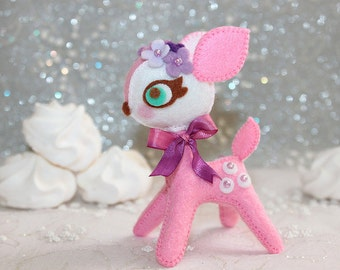 SALE - Rose Pink Petite - Bambi Passion - Felt Plush Toy