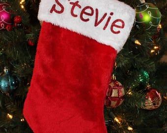 Personalized Stocking, Plush Stocking, Plush Personalized Stocking, Christmas Personalized Stocking, Childs Stocking