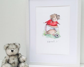 Personalised Guinea Pig print, footballer in red! A4 digital print of watercolour illustration + handwritten message, child/kids gift soccer