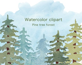 WATERCOLOR CLIPART, christmas clipart, commercial use, watercolour clip art, set, tree clipart, forest, pine branch, png, holiday, woodland