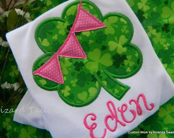 St. Patrick's Day Applique Shirt, Girls Shamrock Shirt, Shamrock Bunting Applique Shirt, Girls Clover Shirt, St. Patricks Day Green Shirt