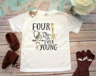 Fourth Birthday Shirt, 4th Birthday Shirt, Zoo Birthday Shirt, Wild Shirt, Zoo Birthday Theme,Birthday Boy Shirt,Zoo Animals Four Ever Young