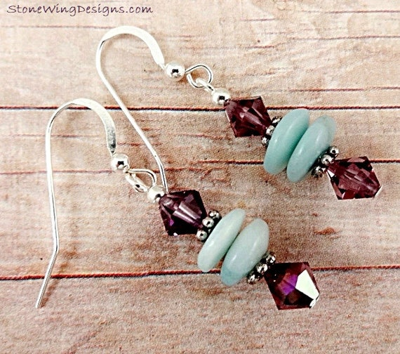 Amazonite and Amethyst Swarovski Crystal Earrings