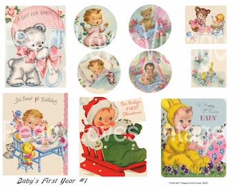 Baby's First Year 1 Digital Collage from Vintage Greeting Cards (girl)  - Instant Download - Cut Outs