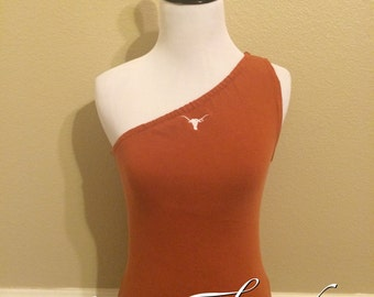 Texas Longhorns UT Burnt Orange Bevo One-Shoulder Converted Upcycled Tank Top T-Shirt - XSmall Small