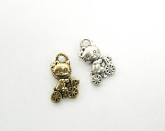Kitty on Trike Charm - Cat Tricyle Charm Pendant - Cat Jewelry
