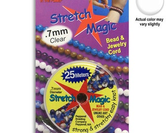 Stretch Magic Beading Cord - 0.7mm - Clear - 25 Meters - For Elastic Bracelets - SKU:501038-07
