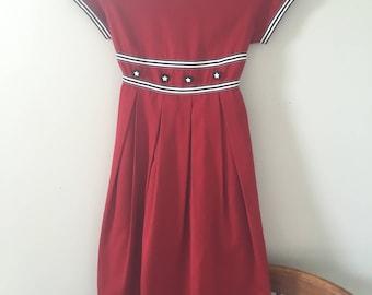 Vintage Girl's dress// Sailor Dress//nautical dress//red dress