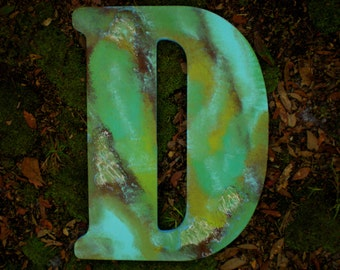 Large Hand Painted Initial - Jumbo 18 Inch - Rustic Vintage Style - Giant Wall Letter