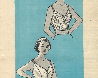 """1950's Vintage Sewing Pattern Women's Lingerie Bra Bustier Top Rockabilly Glamour B 40"""""""