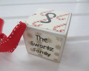 Family Ornament - Personalized Wood Block Ornament