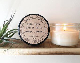 Chai Love You a Latte: Cinnamon+Black Tea+Vanilla. Cinnamon Candle, Soy Candle, Coffee Candles, Vegan candles, Winter Candles, Nontoxic