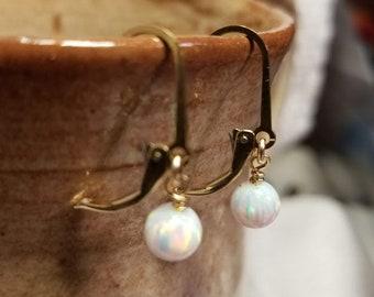 Handmade Earrings - 14K Gold-filled Leverback Wires, Opal Drops