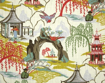 SHIPS FAST Robert Allen Neo Toile Coral Fabric, Coral Asian Pagoda Home Decor Fabric, Neo Coral Chinoiserie Drapery Fabric - By the 1/2 yard