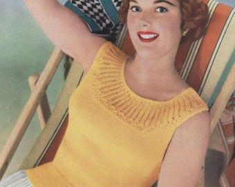 "Ladies 40s 50s Knitting Pattern Vintage Yoked Summer Vest Top 34-38""  3 ply pdf"