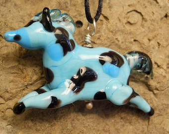 Blue glass bead, Lampwork glass 'paint' horse, horse lover's handmade miniature ornament or pendant, animal bead, glassbead, lamp work glass