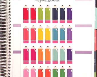 Multicolor Pencil Planner Stickers! Perfect for your EC Life Planner, Inkwell Press Planner, Kikki K, Filofax, etc