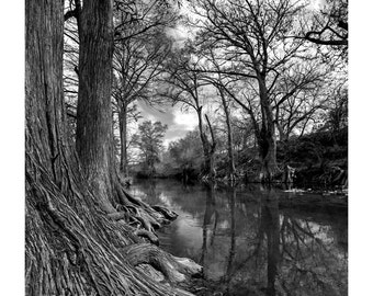 Magic River Fine Art Photography Black and White landscape Texas Magical Mystical life giving water Large Wall Art Rustic home decor Country
