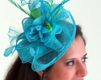 Kentucky Derby  fascinator Blue Turquoise  teal   Fascinator hat feather fascinator wedding hat  STAVVY FRESH