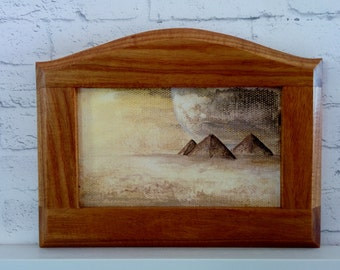 "Original Miniature Painting, ""Pyramids"", Acrylic on Canvas, Custom Exotic Hardwood Frame"