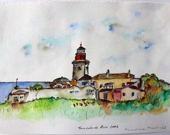 """Original watercolor Unique--Faro Cabo de Roca-Portugal--Signed and certified/35 x 25 cm-13.7 x 9.8 """","""