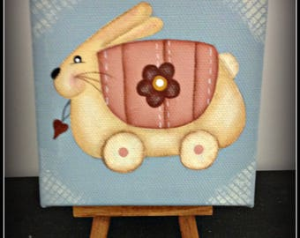 Spring Bunny 4 x 4 Canvas-Display Easel Home Decor Easter Decoration