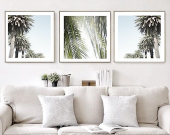 Palm Tree Prints Set of 3, Tropical Wall Art Palm Tree Printable Large Poster California, Hawaii, Coastal Decor Instant Download Photo