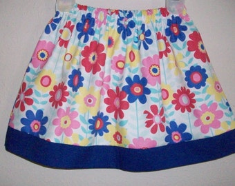 Girls Skirt with Flowers Toddler Skirt Elastic Waist Skirt Floral Skirt Floral Dress Colorful Daisy Flowers Kids Clothing Spring Skirts