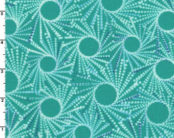 Blue or Teal Green Medallions ~ Flutter Collection ~ 100% QSQ Cotton by RJR Fabrics