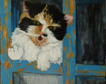 Masia The Cat: Welcome to The Countryside Oil Painting