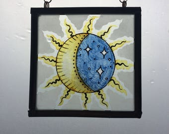 Sun and Moon Glass Panel