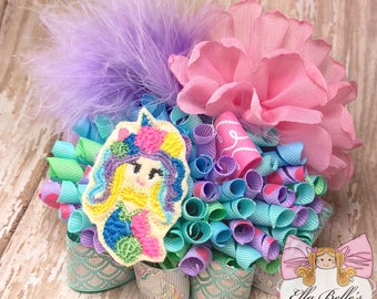 Mermaid Funky Loopy Bow~ ott mermaid bow, mermaid hair bow, mermaid hairbow