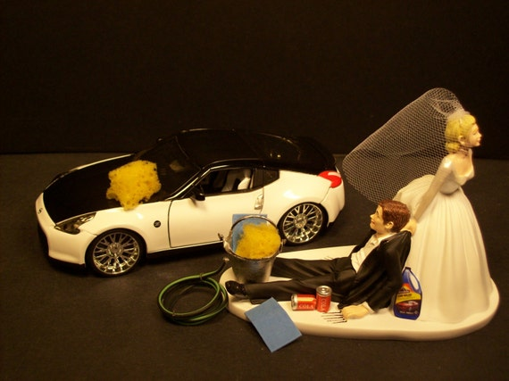 car guy wedding cake topper auto car wash nissan 370 z and groom wedding cake topper 12388