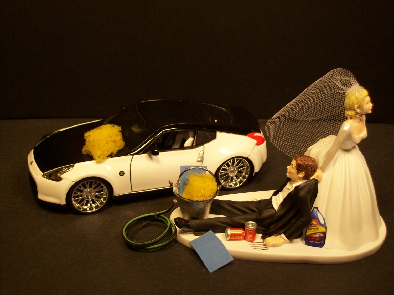 AUTO No CAR Wash Bride and Groom Wedding Cake Topper Funny