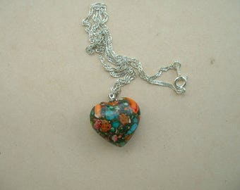 STUNNING GENUINE STONE HEART NECKLACE MOUNTED ON 925 STERLING SILVER CHAIN