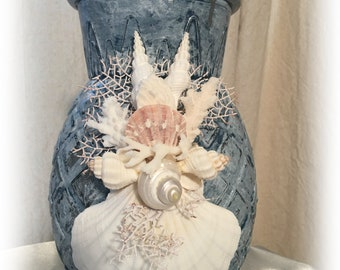 Blue Pineapple Shelled Vase
