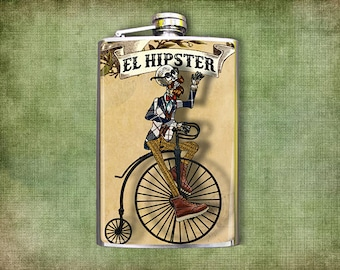 Flask 8oz El Hipster Day of the Dead Skeleton  #438
