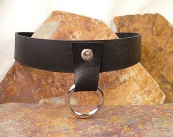 Black Leather Choker Necklace w/ Ring, 2 snaps, Most Popular Item Statement Gift Boyfriend Girlfriend Biker Goth Rocker Teens Musician